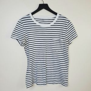 Madewell White Striped Whisper Cotton Pocket Tee